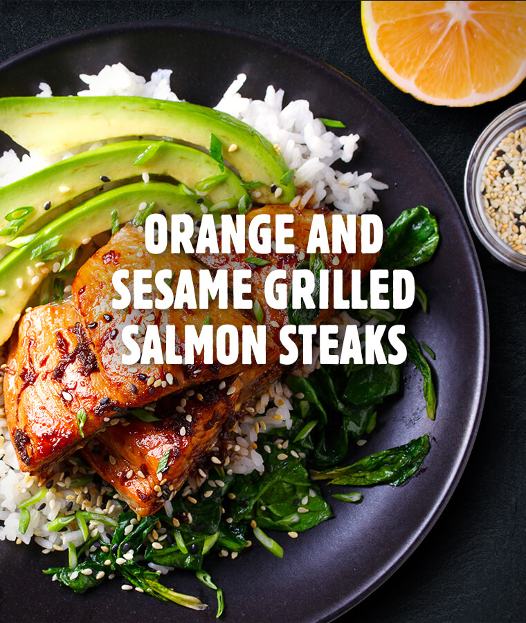 Orange and Sesame Grilled Salmon Steaks recipe