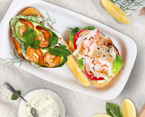 Crab meat and shrimp with cilantro open-faced sandwiches