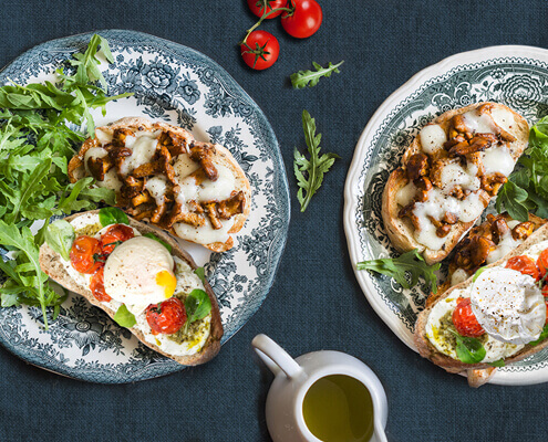 Spicy mushroom and fontina cheese open-faced sandwich