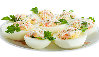 Maple Flavoured Devilled Eggs with Shrimp