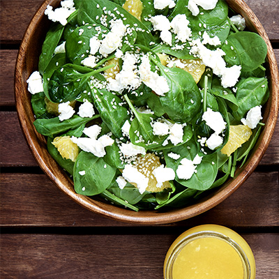 Spinach Salad with Orange Quarters and Gruyère
