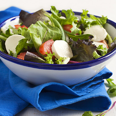 Tossed Salad with Marinated Bocconcini and Hazelnut Dressing