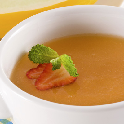 Cantaloupe Soup and Grilled Strawberries