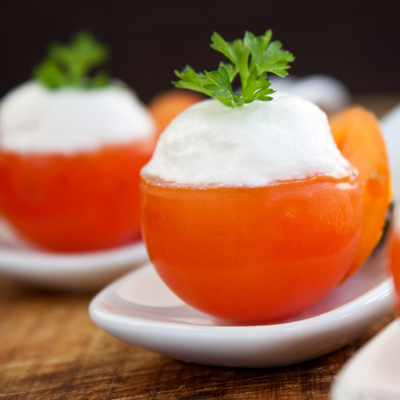 Tomatoes stuffed with cream cheese