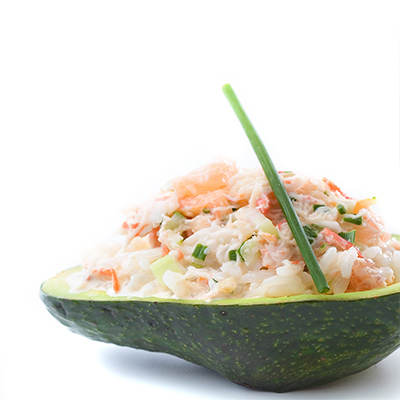 Avocado Stuffed with Spicy Crab Salad