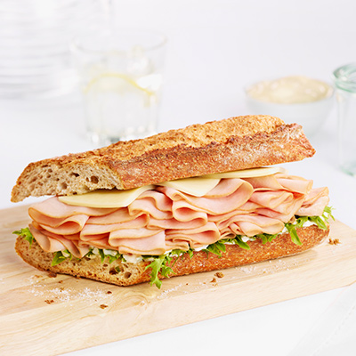 Baguette with Slowly Cooked Ham and Honey Mayonnaise