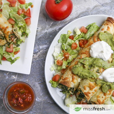 Baked Chicken Cream Cheese Taquitos with Sour Cream, Salsa, and Guacamole