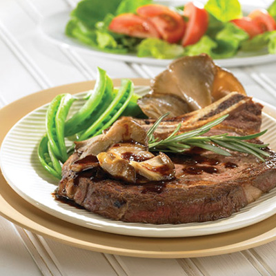 Angus Rib Steaks Napped with Oyster Mushroom Sauce