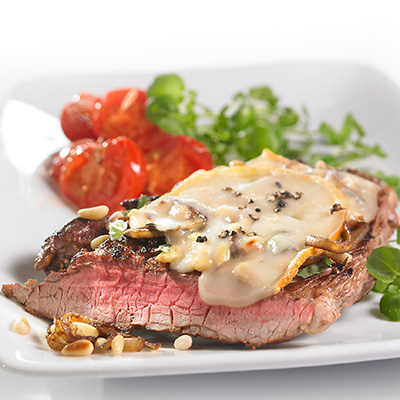 Top Sirloin Steak with Pine Nuts and  Cheese