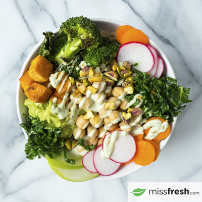Green Goddess Buddha Bowl with Roasted Vegetables and Creamy Basil Dressing