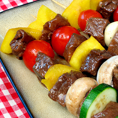 Beef Brochettes with Beer