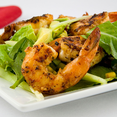Herbed Shrimp, Avocado, Star Fruit Brochettes