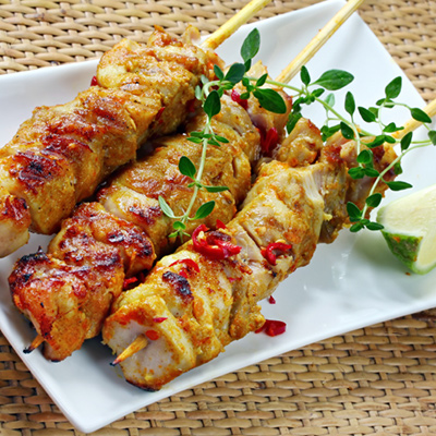 Chicken Vegetable Brochettes with Parmesan