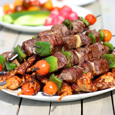 Beef Brochettes with Barbecue Sauce