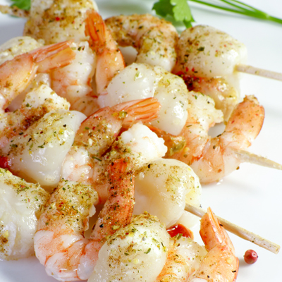 Maple-Orange Shrimp & Scallop Kebobs