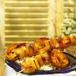 Shrimp and Scallop Brochette Seasoned with Sunny Fruit