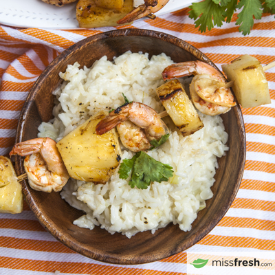 Coconut Pineapple Shrimp Skewers
