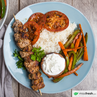 Pork Souvlaki Skewers with Lemon Rice and Summer Vegetables