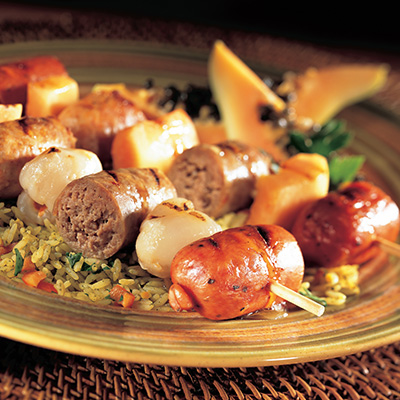 Three-Flavour Sausage Brochettes