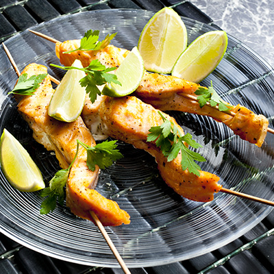 Grilled Sesame Salmon Brochettes