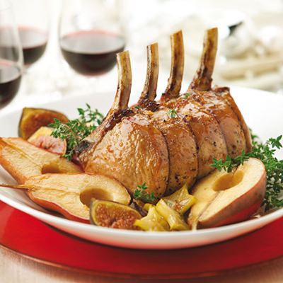 Honey-glazed Rack of Pork with Pears, Figs and Star Fruit