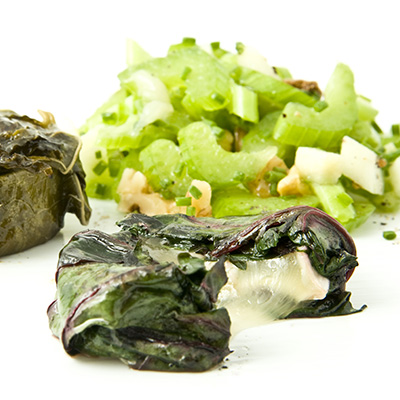 Grilled Grape-leaf Wrapped Goat Cheese with Celery, Apple and Walnut Salad
