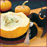 Pumpkin Soup in a Pumpkin Bowl