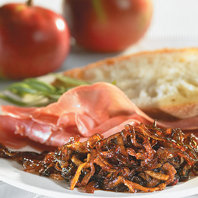 Apple-red-onion Confit with ham ciabatta sandwich