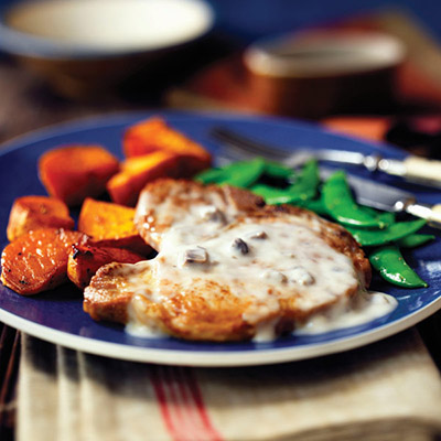 2 Step Mushroom Pork Chops with Sweet Potatoes
