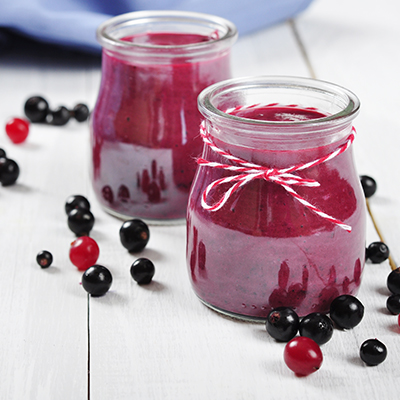 Fruit Cups with Black Currant Syrup