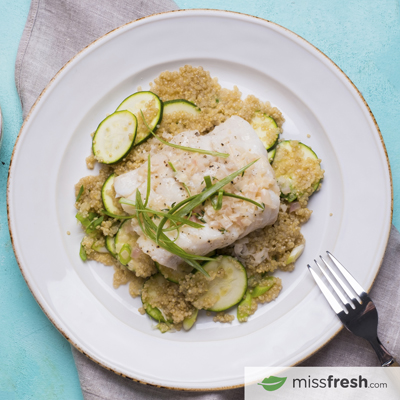 Oven-Baked Cod Fillets with Nantes Thyme Butter and Zucchini Quinoa