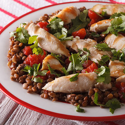 Émincé of Chicken with Lentils