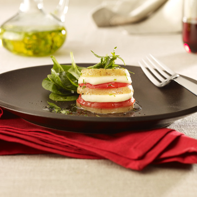 Potato Tomato and Bocconcini Stacks