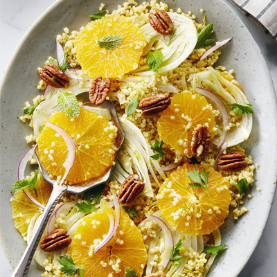 Shaved Fennel, Orange, Candied Pecans and Toasted Millet