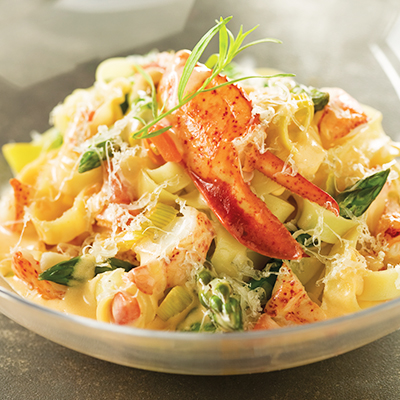 Creamy Fettuccine with Lobster, Asparagus and Le Douanier