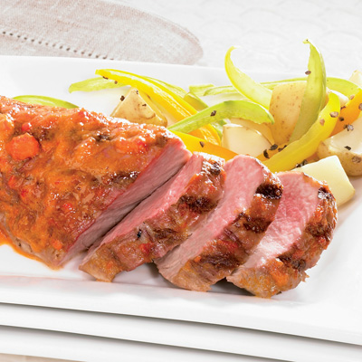 Maple-pepper-glazed Barbecue Veal Tenderloin with Grilled Vegetables