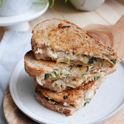Plant-based Grilled Cheese with Artichoke Hearts and Spinach