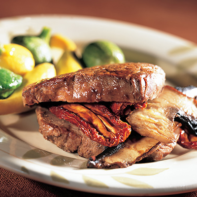 Beef Top Sirloin Steaks Stuffed with Portabella Mushrooms and Sun-Dried Tomatoes