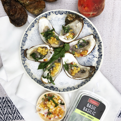 Peach and Basil Oysters
