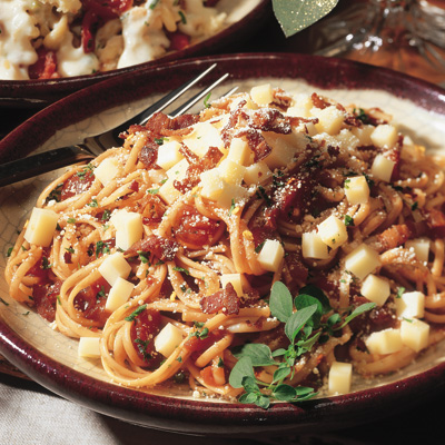 Linguini Pomodoro with Canadian Cheese and Crisp Bacon