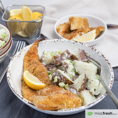 """Fried"" Cod with Potato Salad"