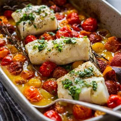Cod with Tomato Confit, Herbs and Orange