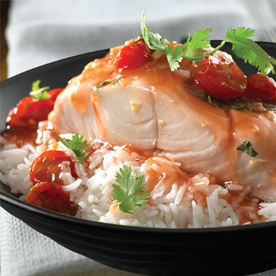 Steamed Cod with Gingered Tomatoes