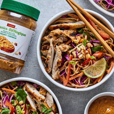 Peanut noodle salad with grilled chicken