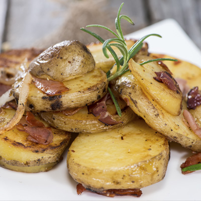 Roasted Potatoes with Onions, Rosemary and Pancetta