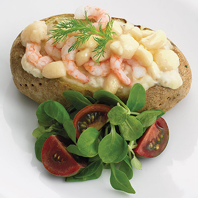 Baked Potatoes Stuffed with Shrimp and Cheese