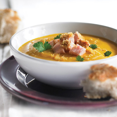 Caramelized Squash Soup with Coconut Curry Pork
