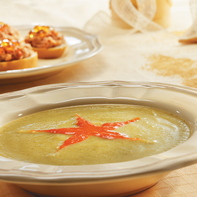 Zucchini Soup with Red Pepper and Maple Syrup Coulis