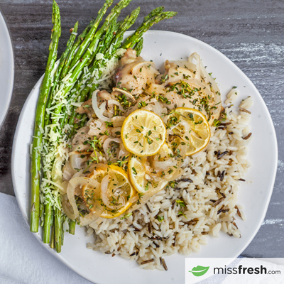 Sweet and Tangy Lemon BBQ Chicken with grilled Asparagus and Wild Rice