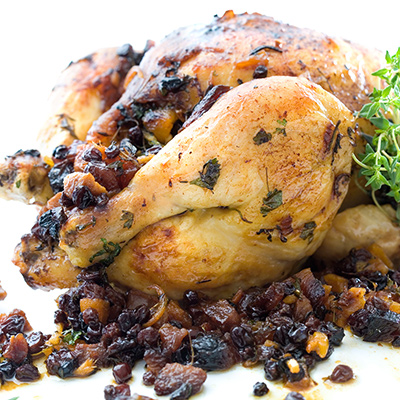 Chicken with Fruit-Sausage Stuffing